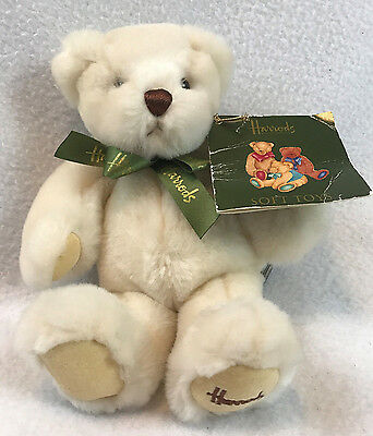 "NWT Harrods Knightsbridge Teddy Bear 9"" Cream Green Bow British Uk Plush Stuffed"