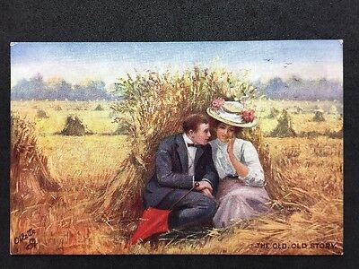 """Vintage Postcard: Artist Signed: #A68 - Raphael Tuck Oilette """"Country Courtship"""""""