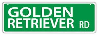 GOLDEN RETRIEVER ROAD Two Sided Plastic Street Sign