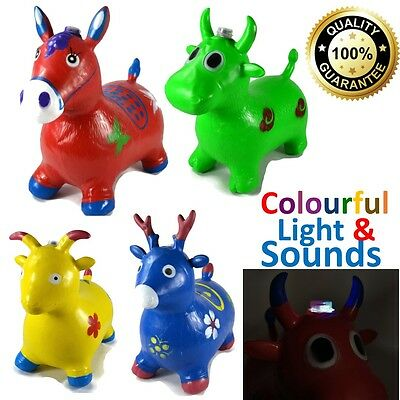 Kids INFLATABLE  Talking Animal Space Hopper Rubber Toy Bouncer Horse / Cow Gift