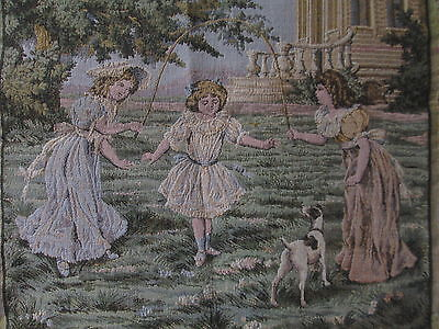 ANTIQUE FRENCH TAPESTRY Victorian Girls Play Jump Rope Dresses W/Rat Terrier Dog