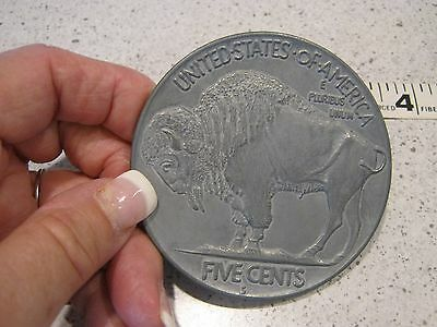 "VINTAGE Large 3"" inch  Novelty Coin Coaster/ Paper Weight 1913 S  BUFFALO NICKEL"