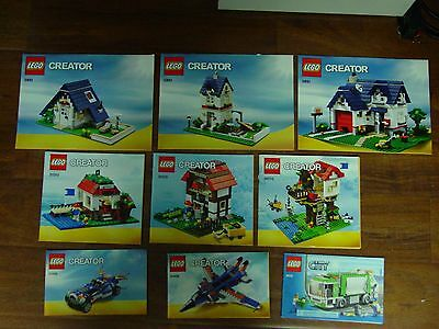 Lego Creator Instruction Manual Booklets Only Lot Of 9 1500