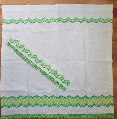 Vintage Fringe MCM Curtain Panel Perma Prest Sears Muslin w Lime Green 4 Avail