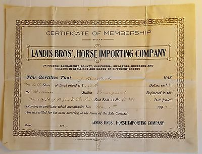 Folsom Ca Old Horse stock certificate, Landis Brothers, 1904