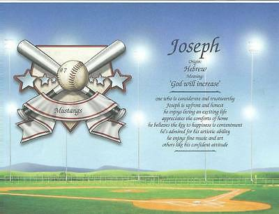 Personalized Baseballl Name Meaning Gift with Team Name, Number Team Gift
