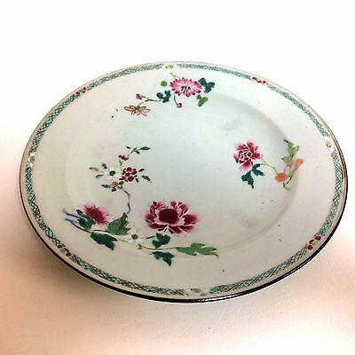 """18th Century Chinese Export Plate with Flower Decoration 9"""""""