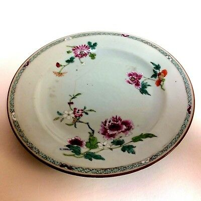 18th Century Chinese Export Plate with Flower Decoration 9""