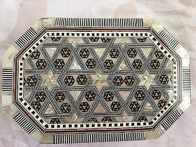 """Unique Egyptian Inlaid Mother Of Pearl Paua Beech Wood Jewlery Box 8.25"""" X 5.5"""""""