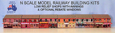 N Scale Low Relief Shops With Awnings 6 x 11 Shops Model Building Kit - NLRS1