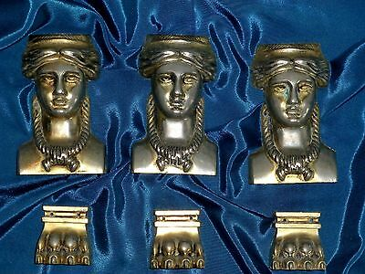 Three french architectural gothic gilded Caryatid paw Figurine mounts, pediments