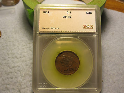 1851 Braided Hair Half Cent XF (1851 1/2 C)