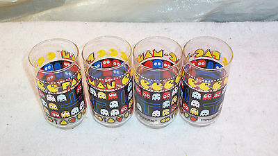 Vintage 1980's Bally Midway Pac-Man Glasses Set of 4