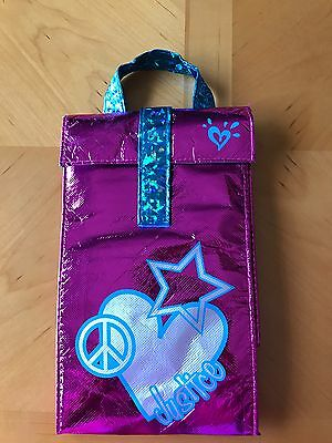 NEW Justice Foil Lunch Bag Sack Box Container Pink Blue Star Heart Peace
