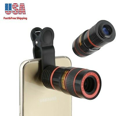 Universal 8X Zoom Lens Optical Clip Telescope Cell Phone Camera Lens Telephoto