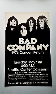 *Original* (1976) BAD COMPANY Paul Rodgers FREE Band RARE Music Concert POSTER