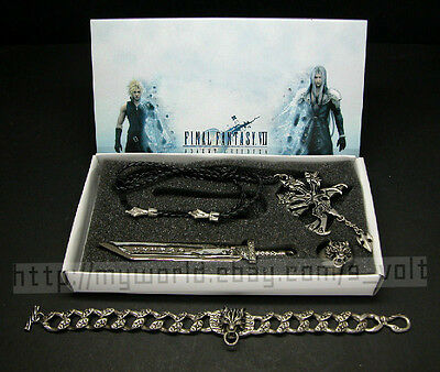 Final Fantasy VII 4pc Set Necklace Ring Bracelet Cosplay FF7 Cloud FREE Shipping