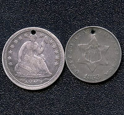 1853 United States 3 Cent & 1854 Half Dime Silver Coins ( With Holes )