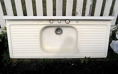 "Vintage 1948 YOUNGSTOWN Deluxe Farmhouse Steel Porcelain 54"" Kitchen Sink"