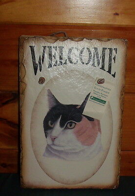 Haindpainted slate Stone Calico Cat Welcome Sign-Nice with Tag