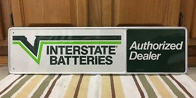 Interstate Batteries Dealer Repair Tin Gas Oil Sign Battery Advertising Nice