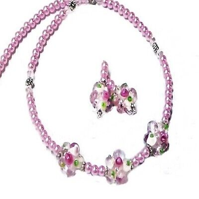 Necklace and earrings set, Pink pearl lampwork glass flower, clip on or pierced