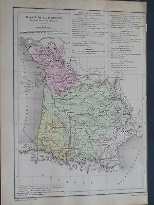 1874 Original Antique French  Map FRANCE Garonne River Basin