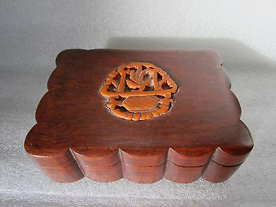 Beautiful Rare Antique Chinese Hand Carved Wooden Opium Box