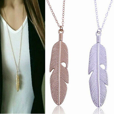 Women Feather Pendant Long Chain Necklace Sweater Statement Vintage Jewelry hs
