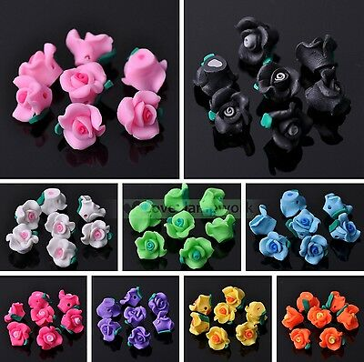 Wholesale 20/50pcs 12X9mm Polymer Clay Flower Loose Spacer Beads Findings