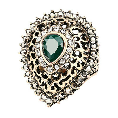 Rhinestone almond tear drop hurrem style women's bezel setting statement rings