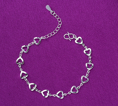 """Solid 925 Sterling Silver 9"""" - 10"""" Heart Link Chain & Charm Anklet (Ankle/Foot)"""