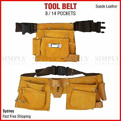 Leather Tool Belt Nail Pouch Bag Holder Apron Carpenter Electrician 8/14 Pocket