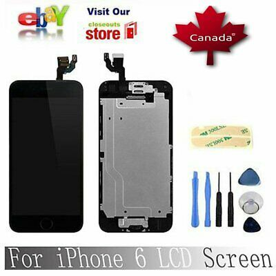 Black Complete Digitizer screen Replacement+Home Button& Camera for iPhone6 4.7""