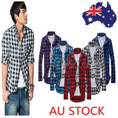 AU Men Stylish Classic Plaid Check Shirt Slim Fit Casual Long Sleeve Blouse Top