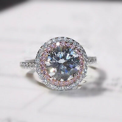 Luxury 3ct AAA Cz Band 925 Silver Women's Engagement Wedding Party Ring Size 4-9