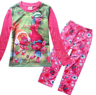 Girls Trolls Pyjamas Winter Pj's Kids Sleepwear Great For Easter .sizes 5 - 10