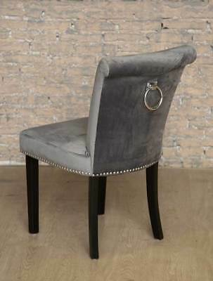 Grey Giovanni Chair Back Ring Statement Stud Chair Dining Furniture