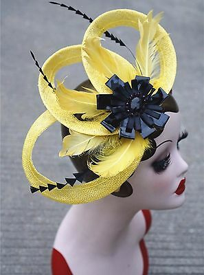 yellow Womens Sinamay Fascinator Cocktail Hat Wedding Church Kentucky Derby T224