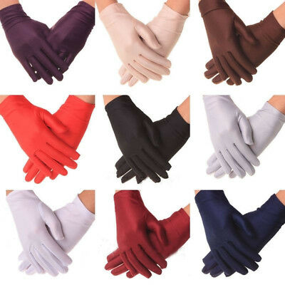 Ladies Short Spandex Stretch Gloves For Halloween Fancy Dress Costume Accessory
