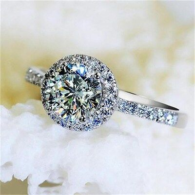 Luxury 3ct Engagement Round Cut CZ Band Women's 925 Silver Wedding Ring Size 4-9