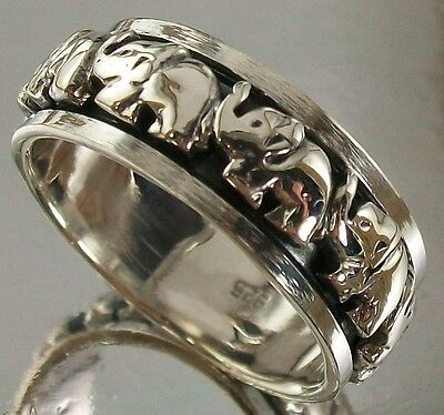 Sterling Silver 925 Elephants Elephant Design US Size 12 AU Y Spin Ring oxidised