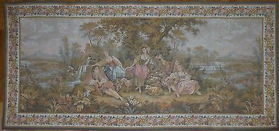 """Large Antique / vintage French Wall Hanging Tapestry  80"""" x 36.5"""" Pastoral scene"""