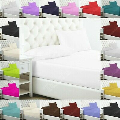 Plain Dyed Poly Cotton Bed Sheet Extra Deep Fitted Or Flat Sheets In All Sizes