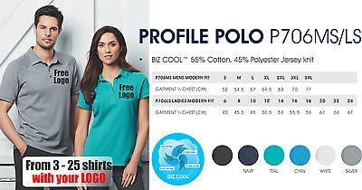 From 3 - 25 shirts Ladies Profile Polo with Your Embroidered LOGO (Biz P706LS)
