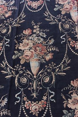 French Antique Home Printed c1850-1860 Roses & Urn Napoleon III Cotton Fabric