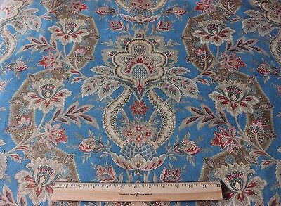 """French Old Antique Indienne Frame Home Cotton Fabric Textile c1880~39""""L X 32""""W"""
