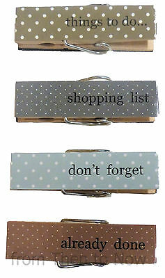 4 Chic Shabby Magnetic Pegs Message Note Memo Holder Clips Vintage Fridge Wood