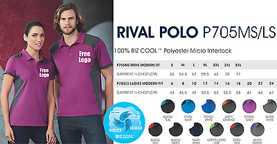 From 3 - 25 shirts Ladies Rival Polo with Your Embroidered LOGO (Biz P705LS)