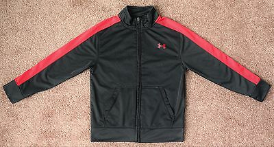 UNDER ARMOUR Sweatshirt Athletic Zip Up Red Black All Season Gear Boys Size 6